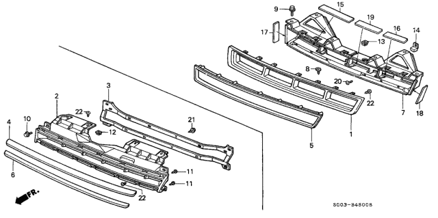 1989 Acura Legend Front Grille Diagram