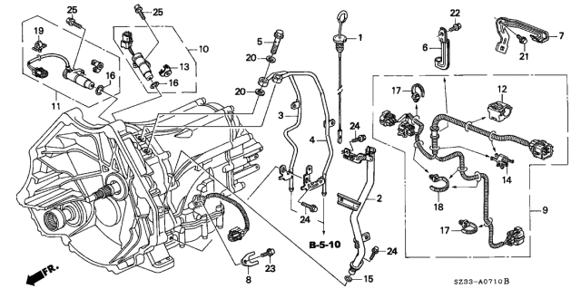 1997 Acura RL AT Oil Level Gauge - Harness Diagram