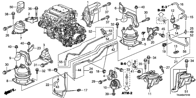 50620-TK5-A00 Genuine Acura Bracket, Engine Side Mounting (4WD)   Acura Tl Engine Diagram      Acura Parts