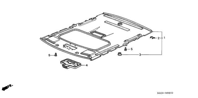 1989 Acura Legend Headliner Trim Diagram