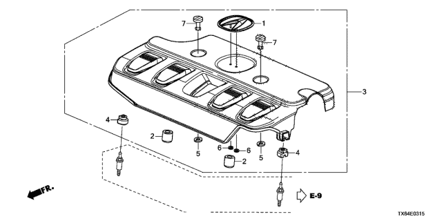 2013 Acura ILX Engine Cover (2.0L) Diagram