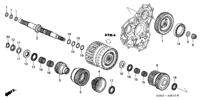 2002 Acura CL Secondary Shaft Diagram