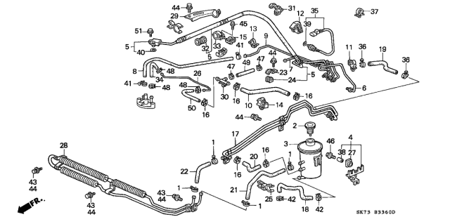 1992 Acura Integra P.S. Hoses - Pipes Diagram