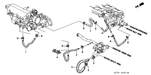 1996 Acura Integra Water Hose Diagram