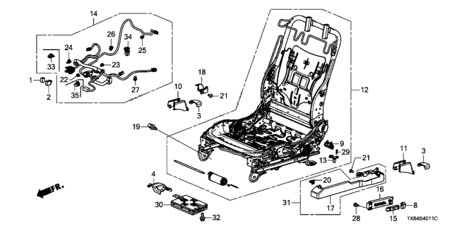 2013 Acura ILX Front Seat Components (L.) (Power Seat) Diagram
