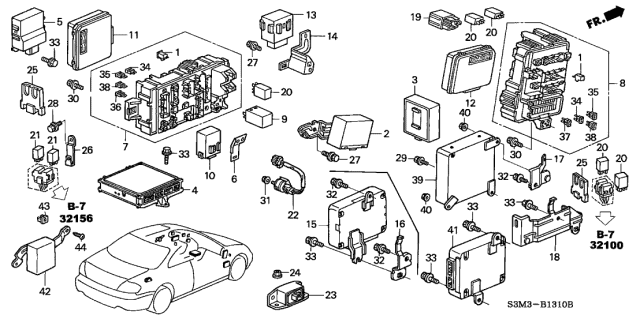 2002 Acura CL Control Unit - Cabin Diagram