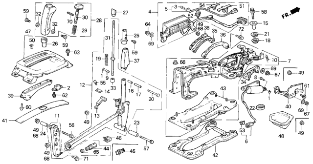 1991 Acura Legend 4AT Select Lever Diagram