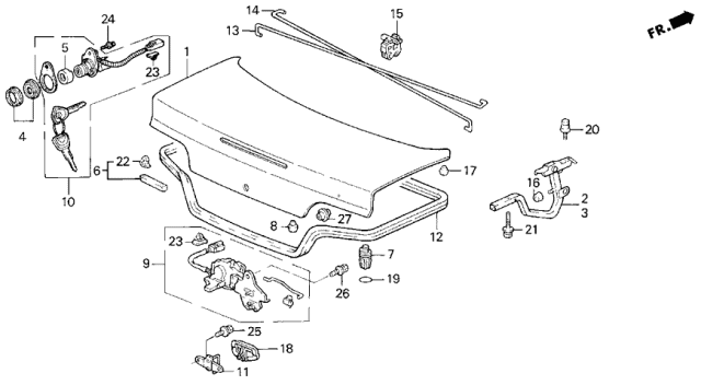 1991 Acura Legend Trunk Lid Diagram