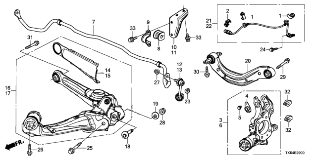 2013 Acura ILX Bracket, Left Rear Stabilizer Diagram