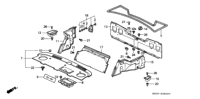 1989 Acura Legend Trunk Side Garnish Diagram