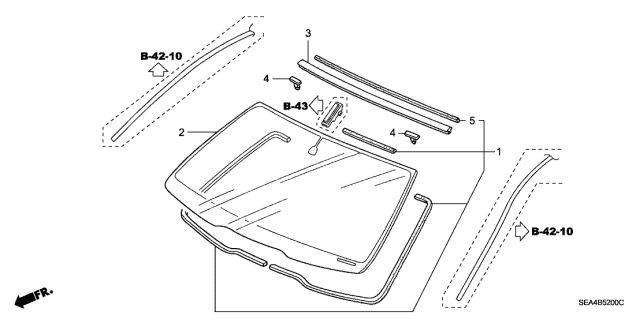 2006 Acura TSX Front Windshield Diagram