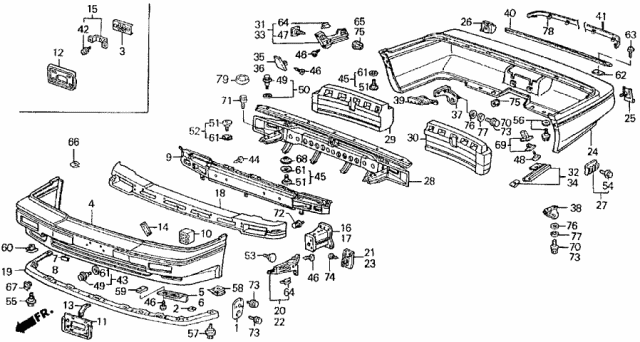1988 Acura Legend Frame, Front License Plate Diagram