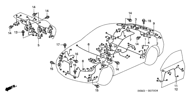 32202-S6M-000 Genuine Acura Wire, Rear Defroster Coil   Acura Rsx Wiring Harness Diagram      Acura Parts