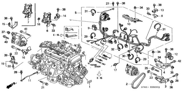 32110-P75-A52 Genuine Acura Wire Harness, Engine   Acura Integra Wiring Harness Diagram      Acura Parts