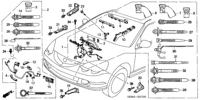 32111-PRB-A01 Genuine Acura Sub-Wire, Starter   Acura Rsx Wiring Harness Diagram      Acura Parts