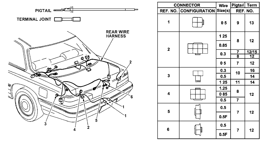 1990 acura legend 2 door l ka 4at electrical connector (rear)