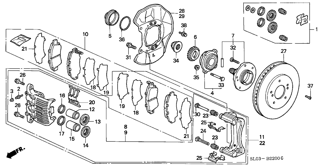 1994 Acura NSX 2 Door NSX KA 5MT Front Brake