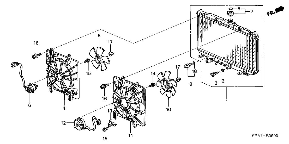 19010 rbb e51 genuine acura radiator (denso) Oil Pump Diagram 2005 acura tsx 4 door tsx (navigation) ka 5at radiator (denso)