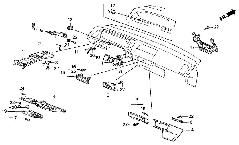 1987 acura integra 3 door rs ka 4at instrument panel garnish