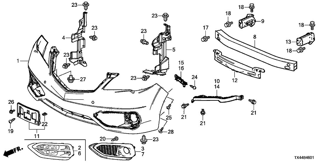 04711-TX4-A50ZZ - Genuine Acura Face, FR. Bumper (Dot)