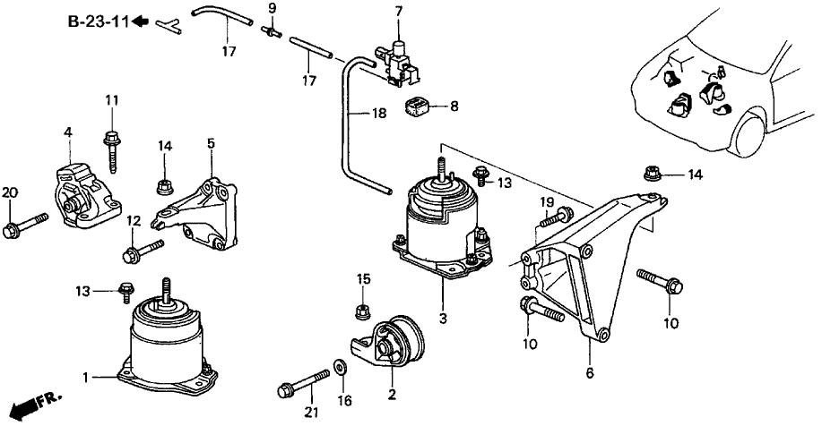 50800-SV7-A01 - Genuine Acura Rubber, FR. Engine Insulator