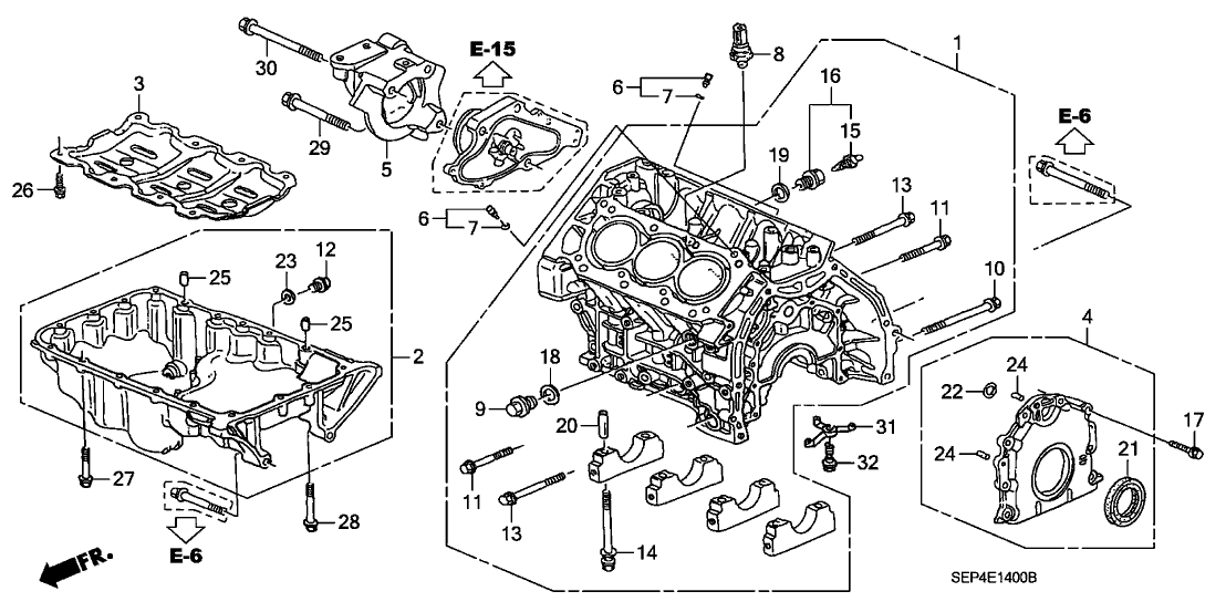 2005 acura tl 4 door sport (navigation) ka 6mt cylinder block - oil pan