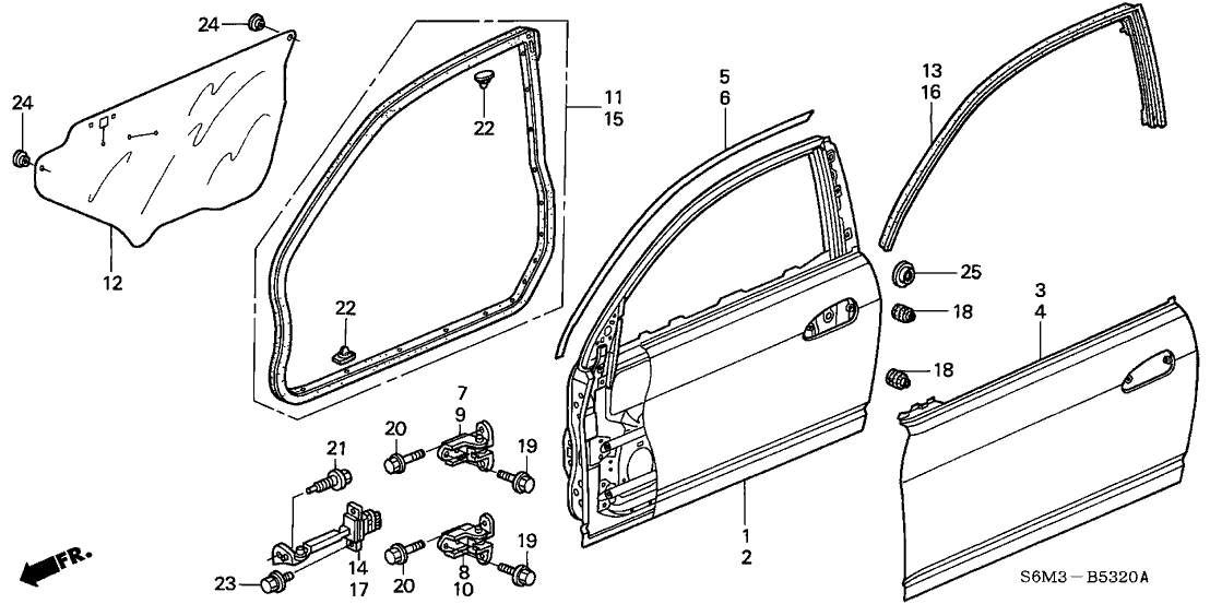 67326 s6m 003 genuine acura tape, r fr door (upper) (outer) 1995 acura integra door diagram 2002 acura rsx 3 door base ka 5at door panels