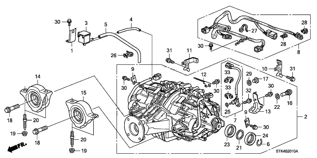 90380 s50 n00 genuine acura bolt, stud (10x61)2007 acura rdx 5 door tech ka 5at rear differential mount