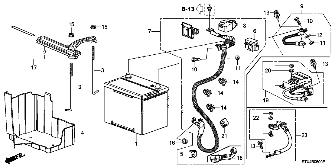 32410 stx a00 genuine acura cable assy starter. Black Bedroom Furniture Sets. Home Design Ideas