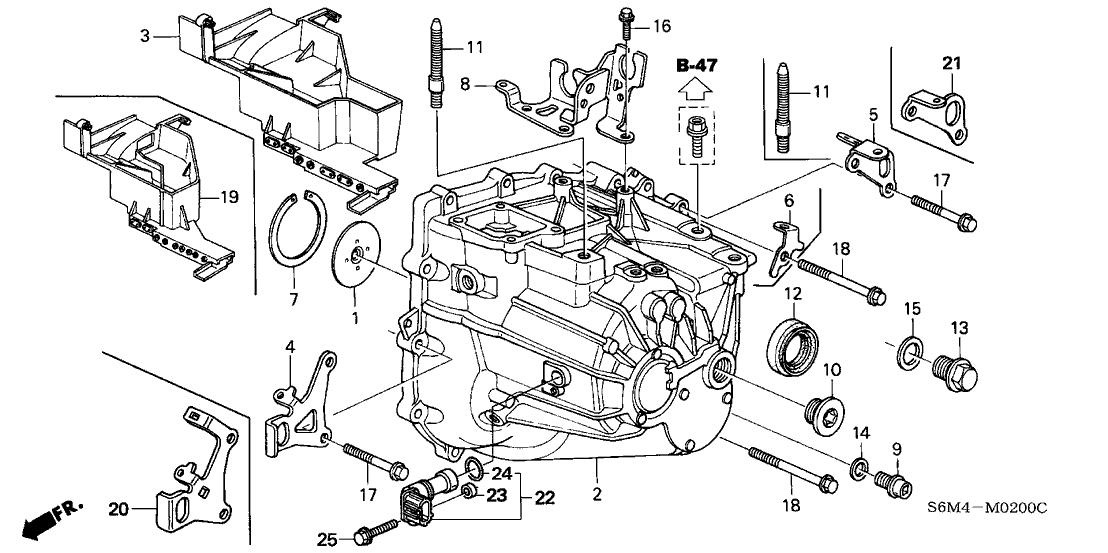 24601 pns 000 genuine acura stay, change wire 2004 RSX Engine Diagram 2005 acura rsx 3 door type s ka 6mt mt transmission case