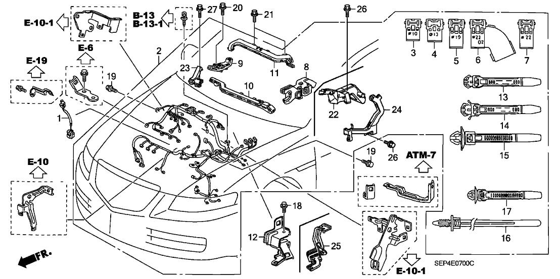 2004 acura tl 4 door base (navigation) ka 5at engine wire harness 2004 Chevy Silverado Diagram