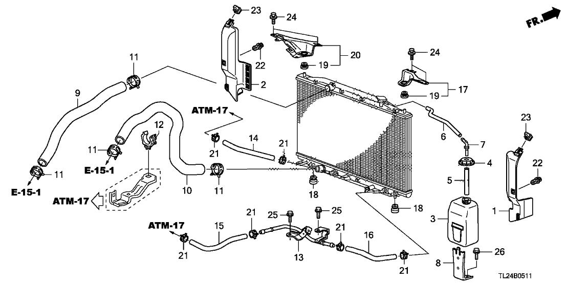 2010 acura tsx 4 door tsx te (v6 tech) ka 5at radiator hose -
