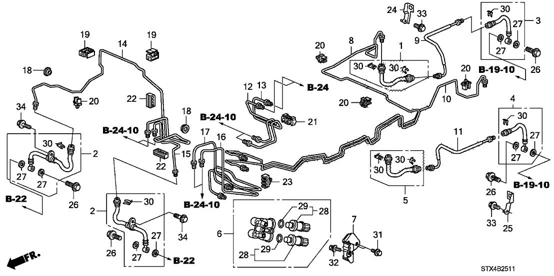 01464-STX-A01 - Genuine Acura Set,FRbrake Hose
