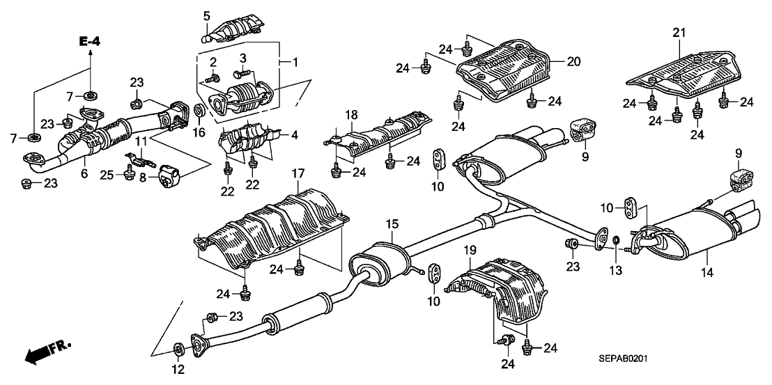 18307-SEP-A51 - Genuine Acura Muffler, R. Ex.