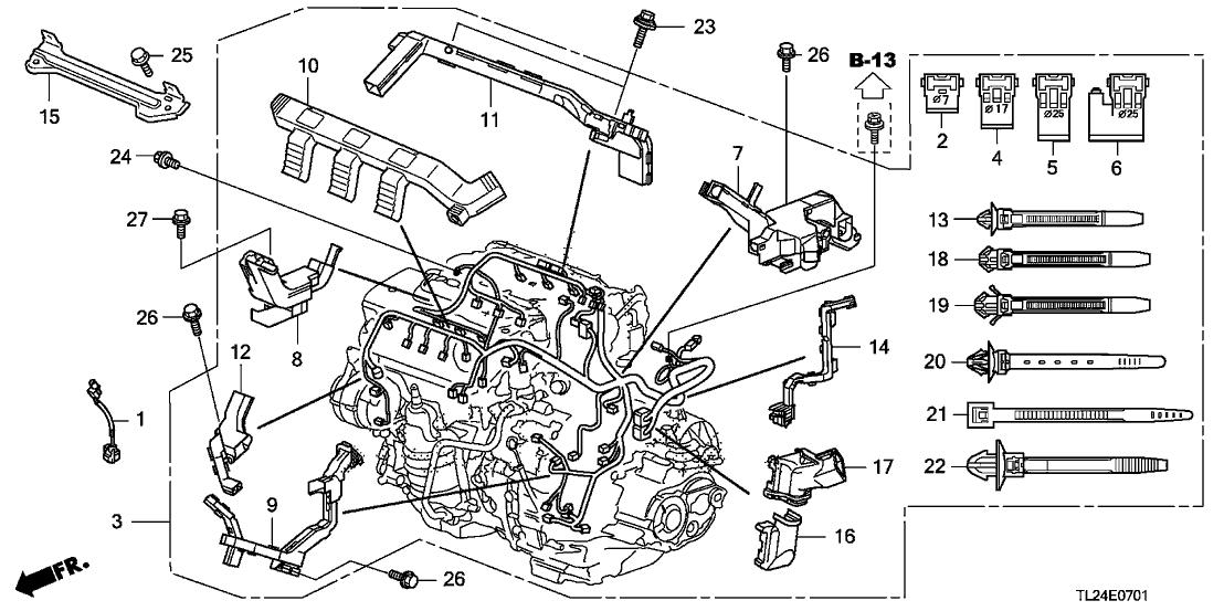 tsx engine diagram 32131 r70 a50 genuine acura holder e  engine harness  genuine acura holder e  engine harness