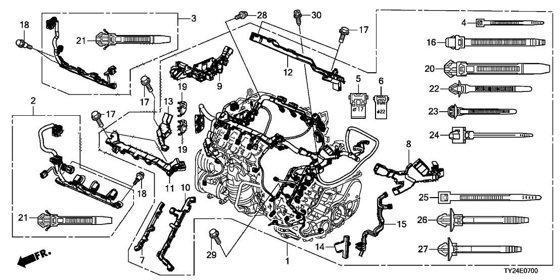 2015 acura rlx 4 door base ka 6at engine wire harness (2wd) (6at