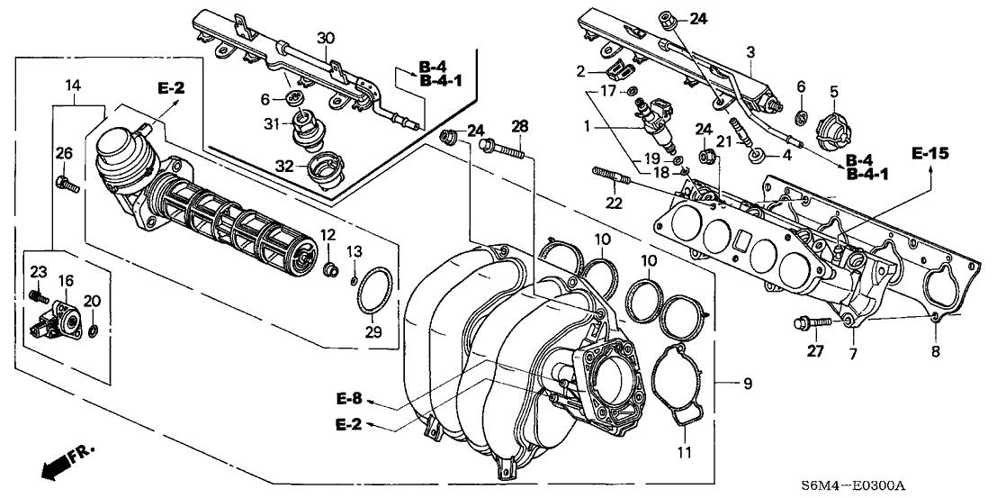 2004 acura rsx 3 door base (leather) ka 5at intake manifold