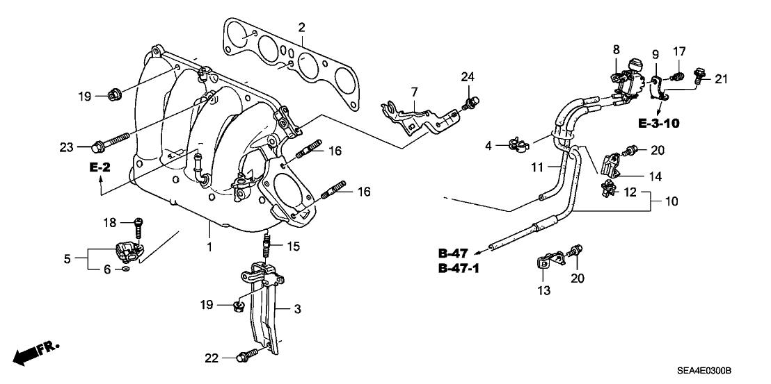 2007 acura tsx engine diagram 17110 rbb a00 genuine acura manifold  in  17110 rbb a00 genuine acura manifold  in
