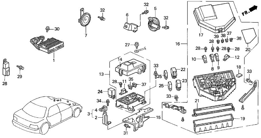 1994 acura vigor 4 door ls ka 5mt fuse box - relay - horn