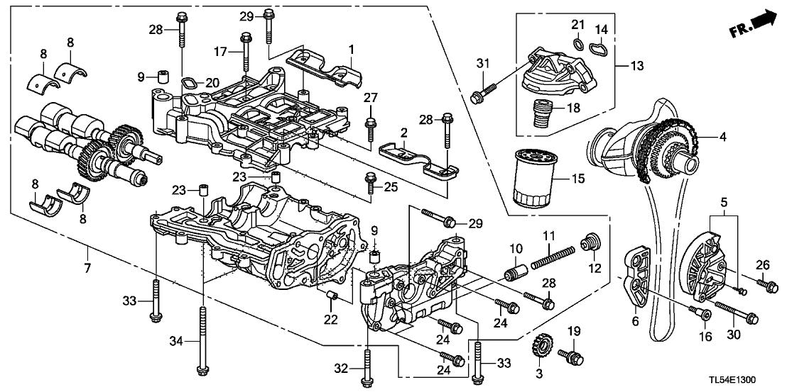 2014 Acura TSX 5 Door TSX KA 5AT Масляный насос