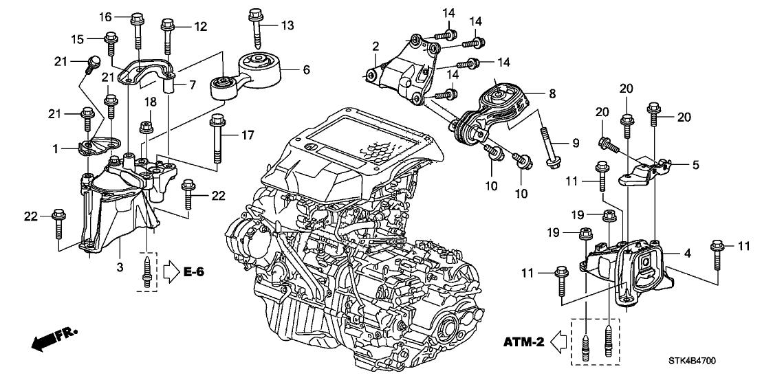 2010 Acura Rdx 5 Door Rdx Ka 5at Engine Mounts