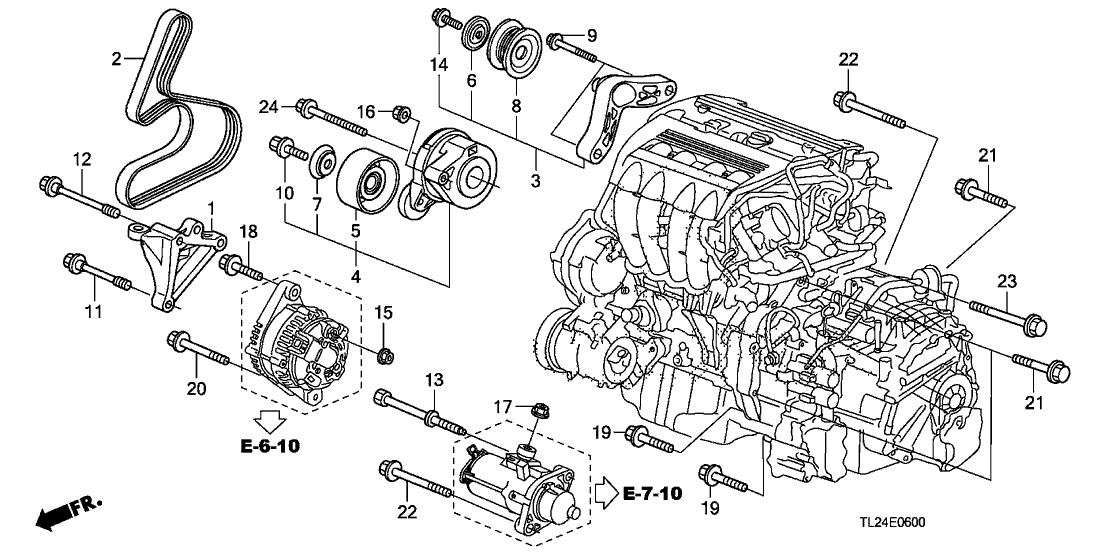 2012 acura tsx 4 door tech ka 5at engine mounting bracket