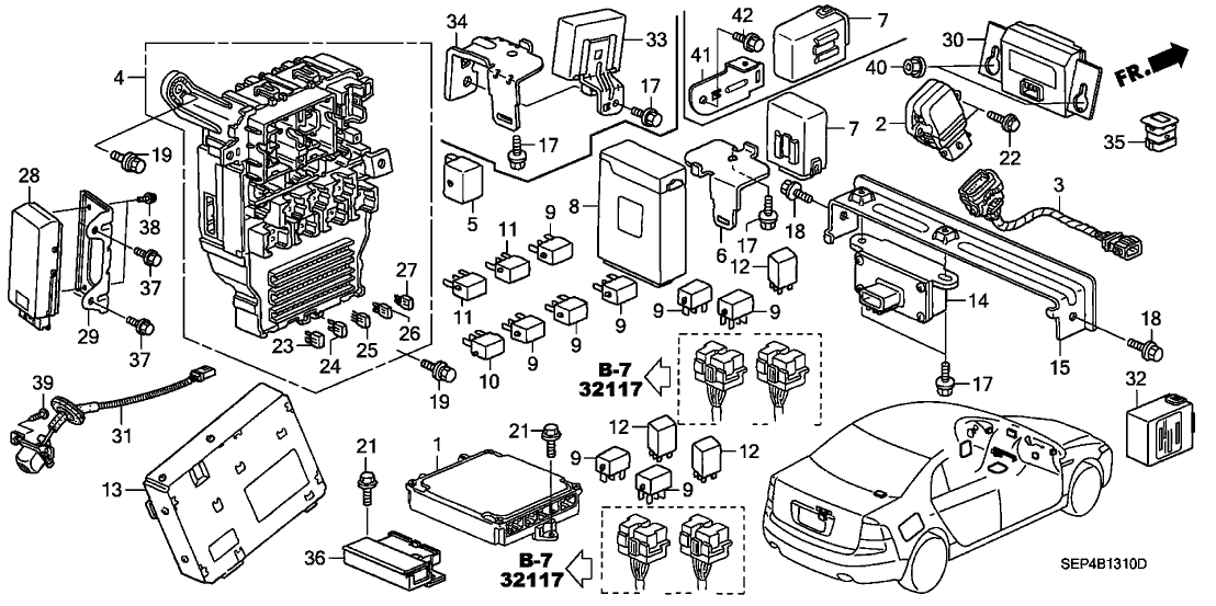 38200-SEP-A05 - Genuine Acura Box Assy., Fuse