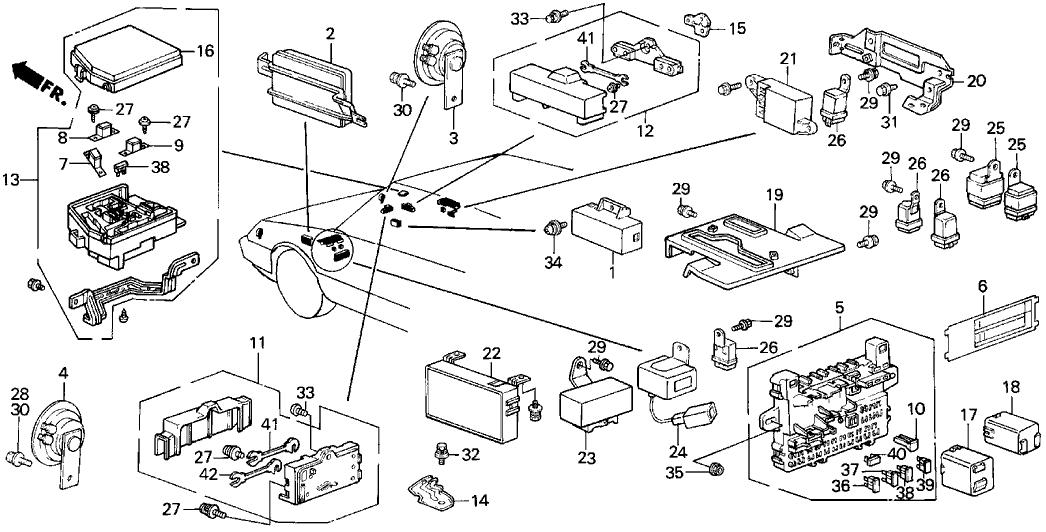 1987 acura integra 3 door ls (special) ka 4at fuse box - horn
