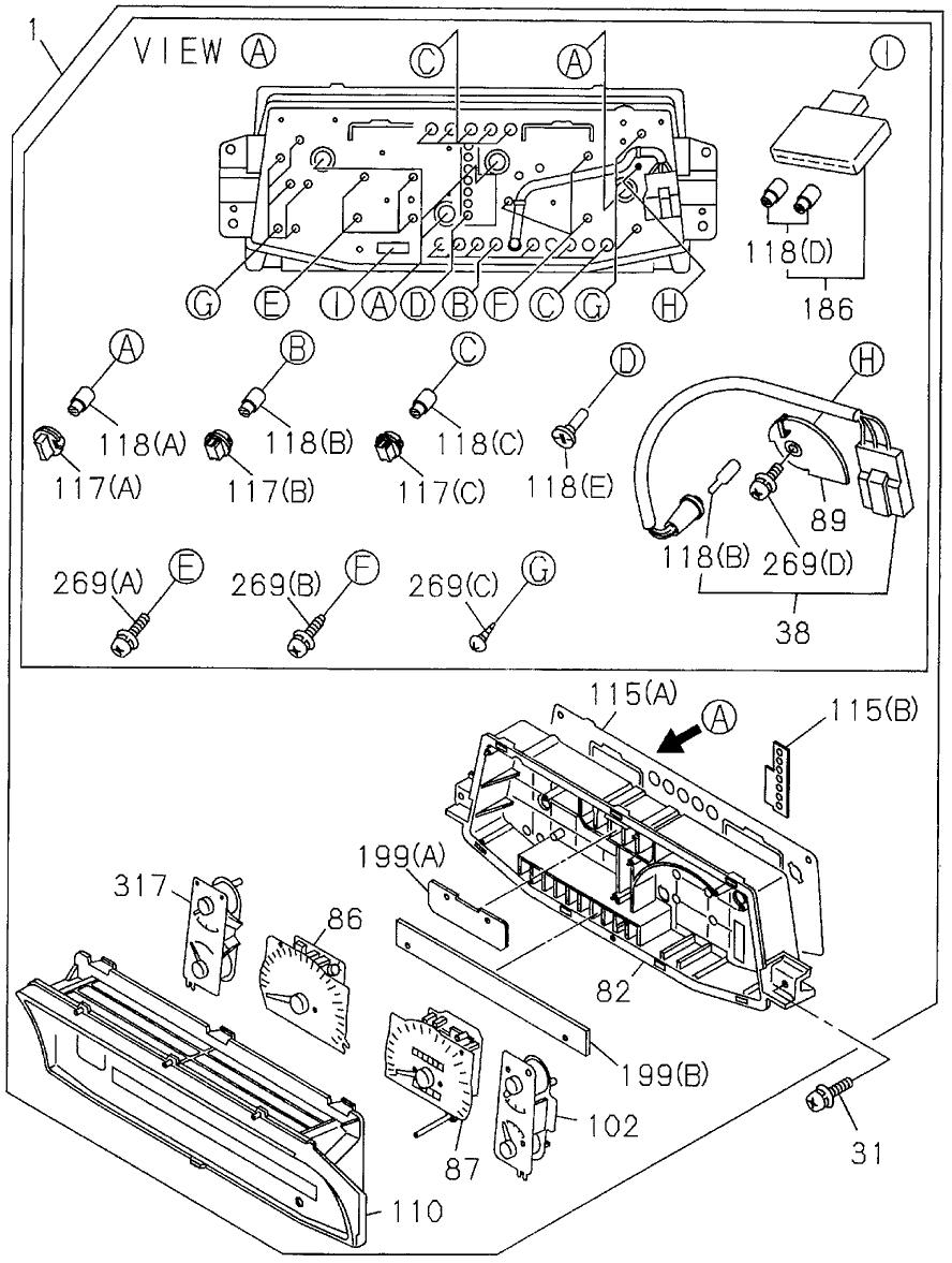 1996 acura slx 4 door 4ls (premium) kl 4at combination meter