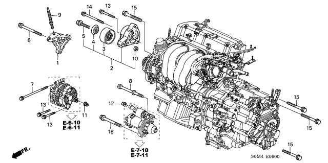 [SCHEMATICS_4ER]  11910-PNA-000 - Genuine Acura Bracket, Engine Side Mounting | Rsx Engine Diagram |  | Acura Parts